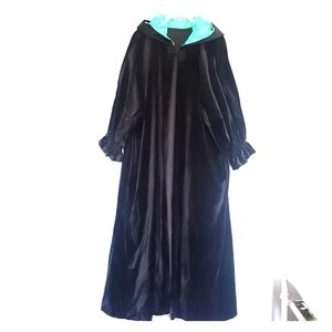 Vintage long black cape with turquoise hood